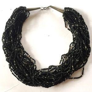 Vintage Statement Seed bead necklace Multi Strand